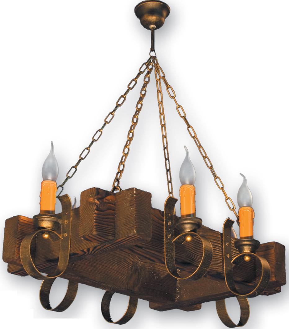 Деревянная люстра на 6 свечей подвесная на цепи 210226