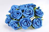 """Розочка кудрявая 1.5 -2 см из латекса (фоамирана) 100 шт/уп на стебле цвета """"синего"""" оптом"""