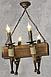 Люстра в стиле Лофт из натурального дерева на 4 факела 160724, фото 4