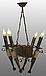 Люстра в стиле Лофт из натурального дерева на 4 факела 160724, фото 5