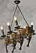 Люстра под старину на 6 факелов из натурального дерева 160726, фото 2