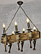 Люстра под старину на 6 факелов из натурального дерева 160726, фото 4