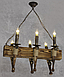 Люстра под старину на 6 факелов из натурального дерева 160726, фото 6