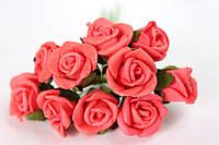 Розочка кучерява 1.5 -2 см з латексу (фоамирана) 100 шт/уп на стеблі червоного кольору оптом, фото 1