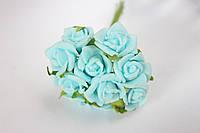 Розочка кудрявая 1.5 -2 см из латекса (фоамирана) 100 шт/уп на стебле голубого цвета оптом