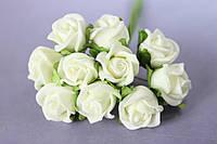 Розочка кудрявая 1.5 -2 см из латекса (фоамирана) 100 шт/уп на стебле кремового цвета оптом, фото 1