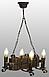 Деревянная люстра под старину на 4 свечи 690324, фото 4