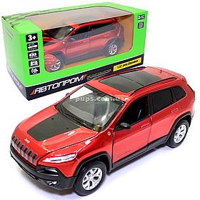 Игрушечная машинка металлическая «Jeep Cherokee» Автопром Джип Чероки, красный, 14*5*5 см, (68375)