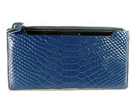 Купюрник, портмоне, кошелек кожаный женский синий, съемное отделение