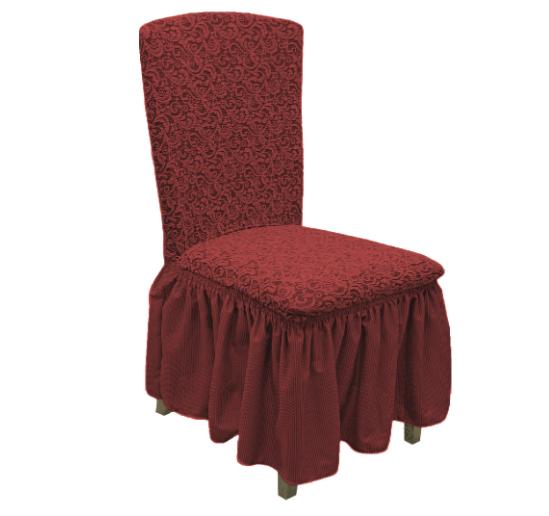 Турецкие чехлы на стулья со спинкой жаккардовые с юбкой, натяжные чехлы на стулья универсальные Бордовый
