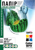 Фотобумага ColorWay глянцевая двусторонняя 155г/м, A4 PGD155-20