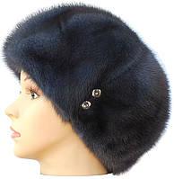 """норковая  шапка модель """"конфетка  Мальвина"""" цвет  темно серый"""