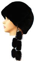"""норковая  шапка модель """"конфетка 2"""" цвет черный"""