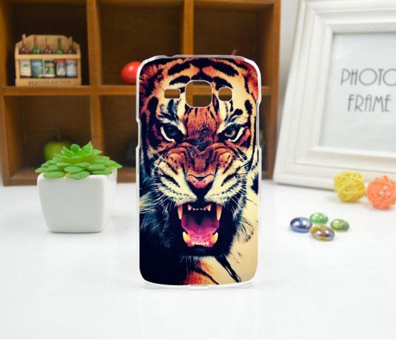 Cиликоновый чехол бампер с рисунком для Samsung Galaxy Core 2 G355 Тигр