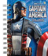 """Блокнот с пластиковой обложкой на спирали """"Капитан Америка"""", 96 листов, А6"""