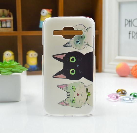 Cиликоновый чехол бампер с рисунком для Samsung Galaxy Core 2 G355 Коты
