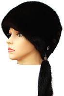 """Черная норковая  шапка модель """"конфетка """""""