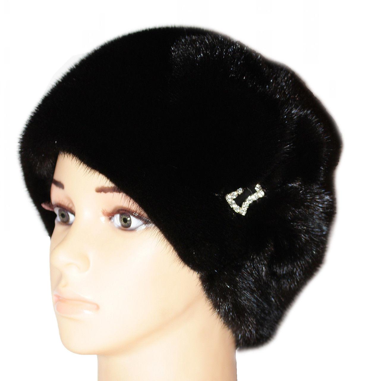 """Черная норковая  шапка модель """"конфетка ,цветок """""""
