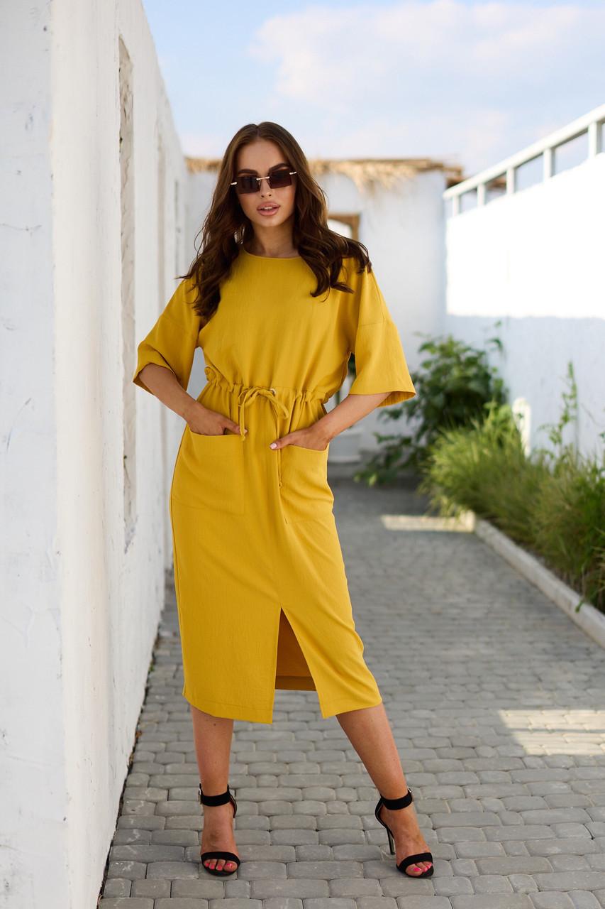 Желтое летнее повседневное платье миди