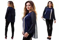 Блуза больших размеров из шифона 3 цвета
