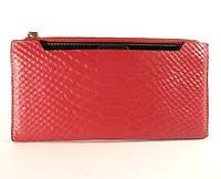 Купюрник, портмоне, кошелек кожаный женский малиновый, съемное отделение