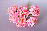 Хризантема пышная 60 шт/уп. диаметр около 3,5 см диаметр оранжево-розового цвета оптом