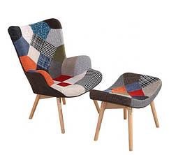 Крісло м'яке Флорино з банкеткою, тканина, петчворк