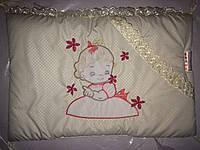 """Фирменный комплект постельного белья с балдахином. Вышивка """"Малышка New"""""""