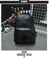 Стильный черный рюкзак с заклепками, фото 1
