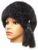 """норковая  шапка модель """"конфетка резаный узор """" цвет серый"""