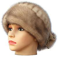 """норковая  шапка модель """"конфетка бантик"""" цвет бежевый"""