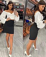 Жіноча модна блузка кроп топ з довгим рукавом, фото 1