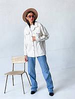 Жіноча модна тепла сорочка, гладка і в клітину, тканину, шерсть з коттоном, фото 1