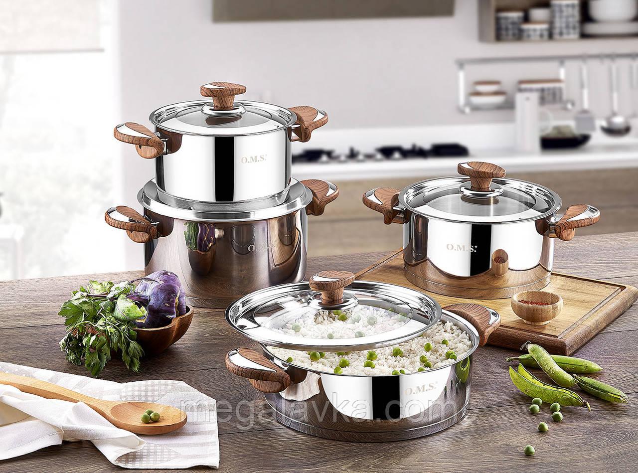 Набор кухонной посуды из нержавеющей стали 8 предметов OMS 1076-Brown