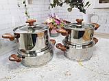Набор кухонной посуды из нержавеющей стали 8 предметов OMS 1076-Brown, фото 2