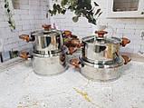 Набор кухонной посуды из нержавеющей стали 8 предметов OMS 1076-Brown, фото 3