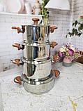 Набор кухонной посуды из нержавеющей стали 8 предметов OMS 1076-Brown, фото 8