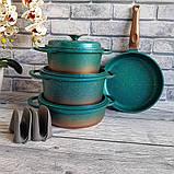 Набор посуды OMS 3049-Blue (Турция)  бирюзовый, фото 3