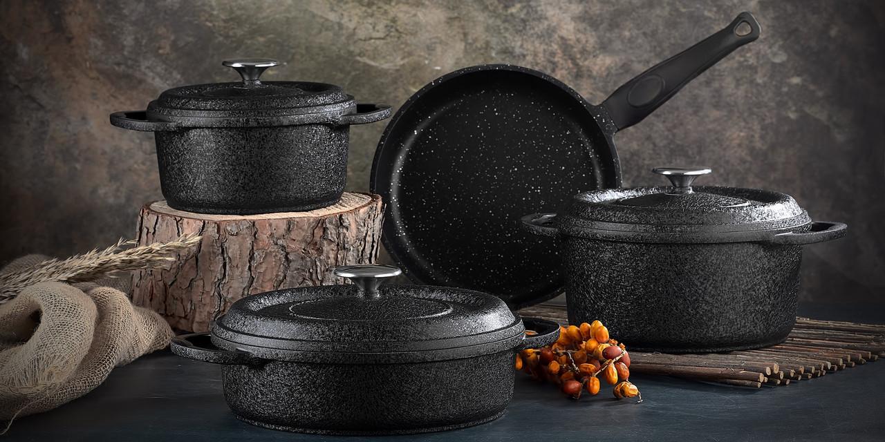 Набор посуды с антипригарным покрытием из 7-ми предметов черный OMS 3050-Black