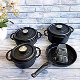 Набор посуды с антипригарным покрытием из 7-ми предметов черный OMS 3050-Black, фото 2