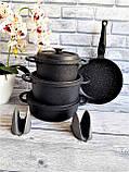 Набор посуды с антипригарным покрытием из 7-ми предметов черный OMS 3050-Black, фото 3