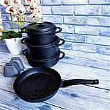 Набор посуды с антипригарным покрытием из 7-ми предметов черный OMS 3050-Black, фото 4