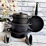 Набор посуды с антипригарным покрытием из 7-ми предметов черный OMS 3050-Black, фото 5