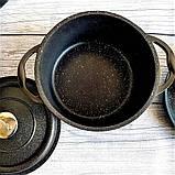 Набор посуды с антипригарным покрытием из 7-ми предметов черный OMS 3050-Black, фото 6