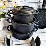 Набор посуды с антипригарным покрытием из 7-ми предметов черный OMS 3050-Black, фото 8