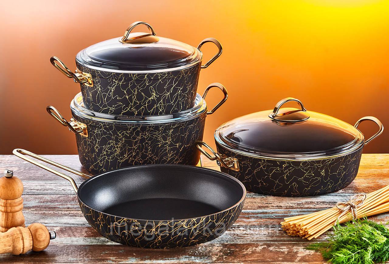 Набір посуду з антипригарним покриттям з 9-ми предметів OMS 3037-Gold