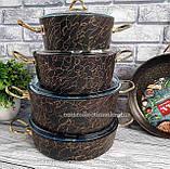 Набір посуду з антипригарним покриттям з 9-ми предметів OMS 3037-Gold, фото 7