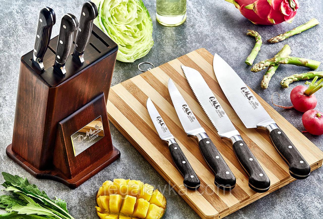 Набір ножів з нержавіючої сталі з дерев'яними ручками з 8 предметів OMS 6160ART