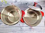 Каструля дворівнева для кускус 10.5 л 26х20 см з нержавіючої сталі (Туреччина) OMS 6040-26-Red, фото 2