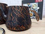 Чайник подвійний 1,2 / 2,5 л з антипригарним покриттям чорний / бронза (Туреччина) OMS 8204-L-Bronze, фото 2